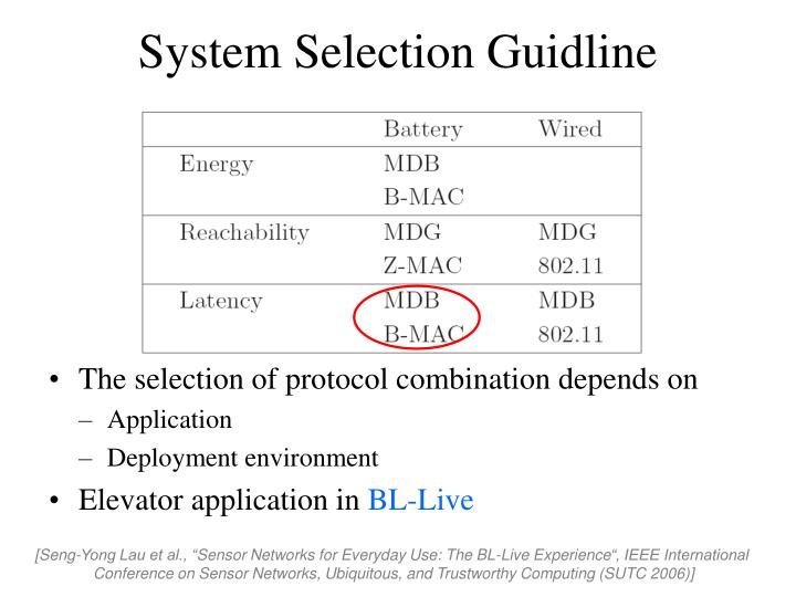 System Selection Guidline