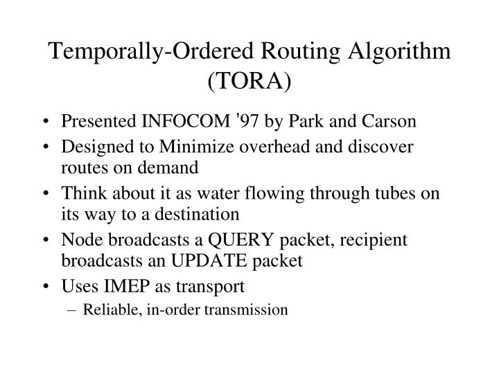 Temporally-Ordered Routing Algorithm (TORA)