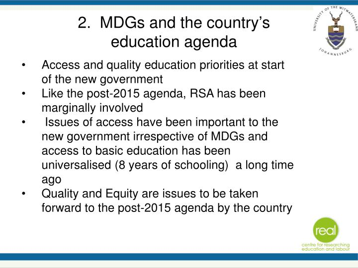 2.  MDGs and the country