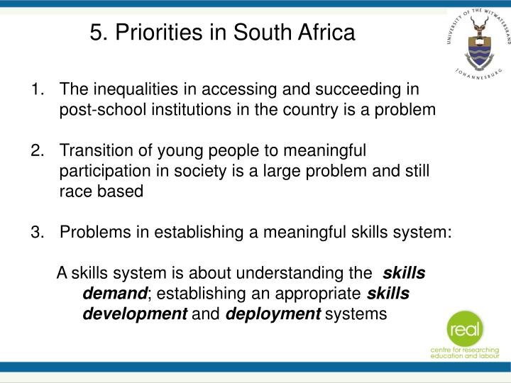5. Priorities in South Africa