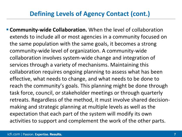 Defining Levels of Agency Contact (cont.)