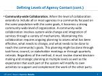 defining levels of agency contact cont1