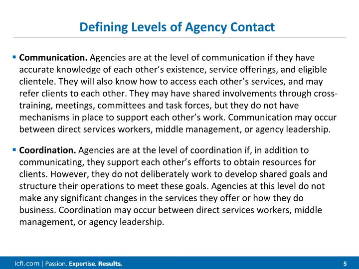 Defining Levels of Agency Contact