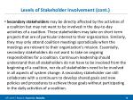 levels of stakeholder involvement cont