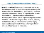 levels of stakeholder involvement cont1