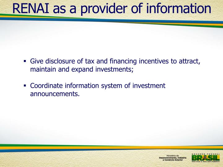 RENAI as a provider of information