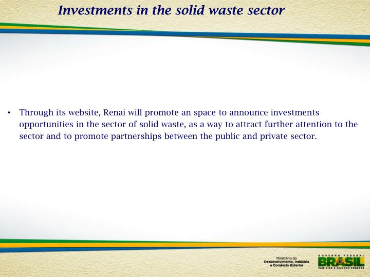 Investments in the solid waste sector