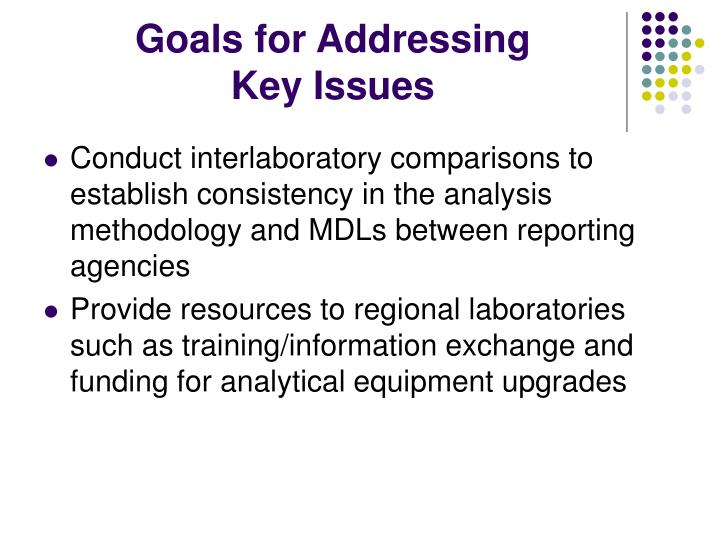 Goals for addressing key issues
