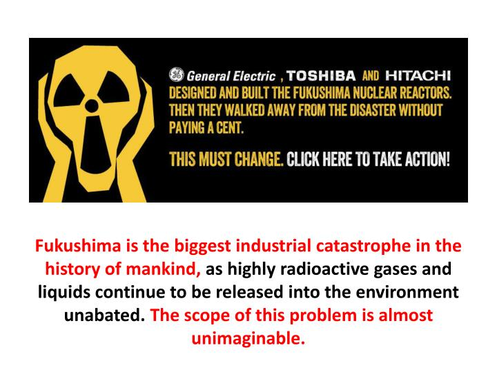 Fukushima is the biggest industrial catastrophe in the history of mankind,