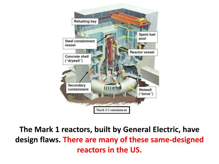 The Mark 1 reactors, built by General Electric, have design flaws.