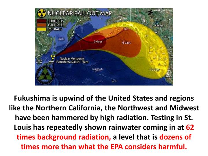 Fukushima is upwind of the United States and regions like the Northern California, the Northwest and Midwest have been hammered by high radiation. Testing in St. Louis has repeatedly shown rainwater coming in at