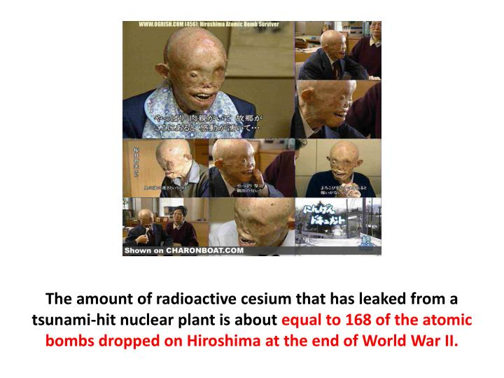 The amount of radioactive cesium that has leaked from a tsunami-hit nuclear plant is about