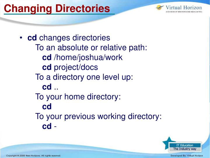 Changing Directories