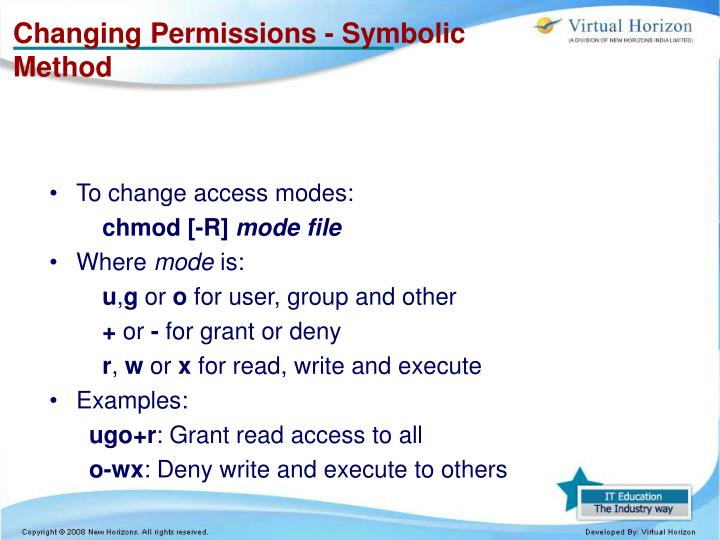 Changing Permissions - Symbolic