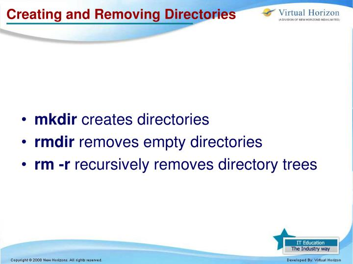 Creating and Removing Directories