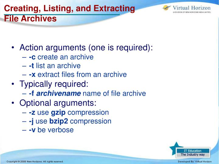 Creating, Listing, and Extracting File Archives