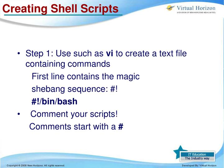 Creating Shell Scripts
