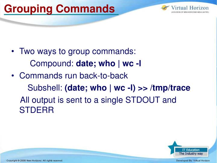 Grouping Commands