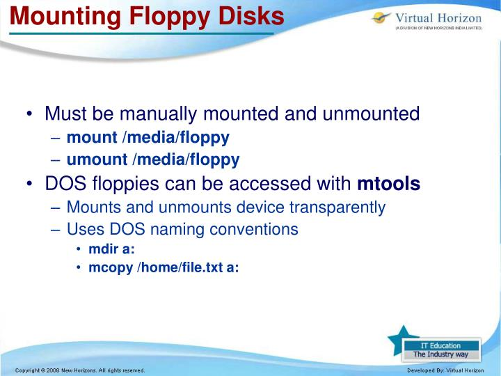 Mounting Floppy Disks