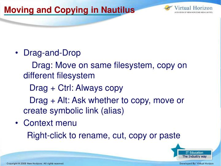 Moving and Copying in Nautilus