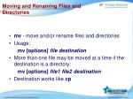 moving and renaming files and directories