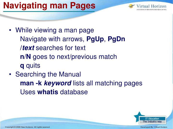 Navigating man Pages