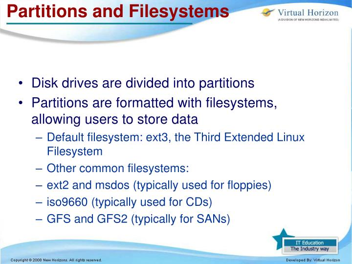 Partitions and Filesystems