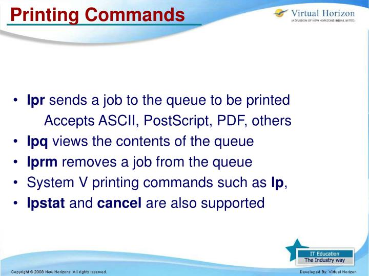 Printing Commands