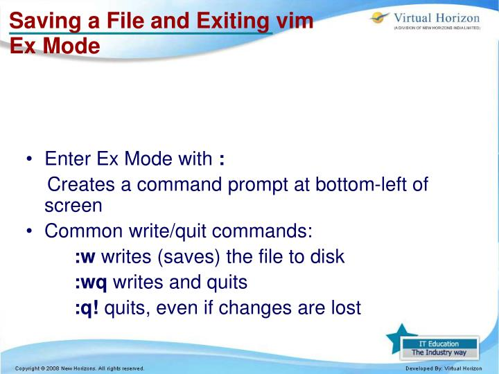 Saving a File and Exiting vim