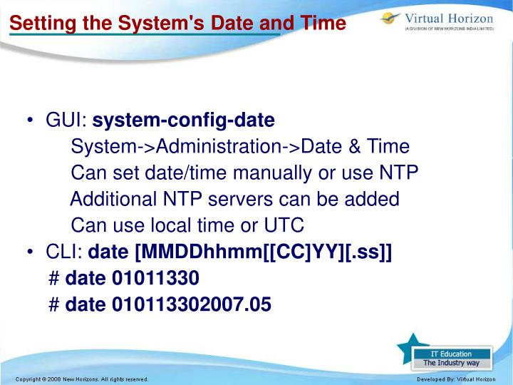 Setting the System's Date and Time
