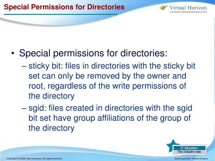 Special Permissions for Directories