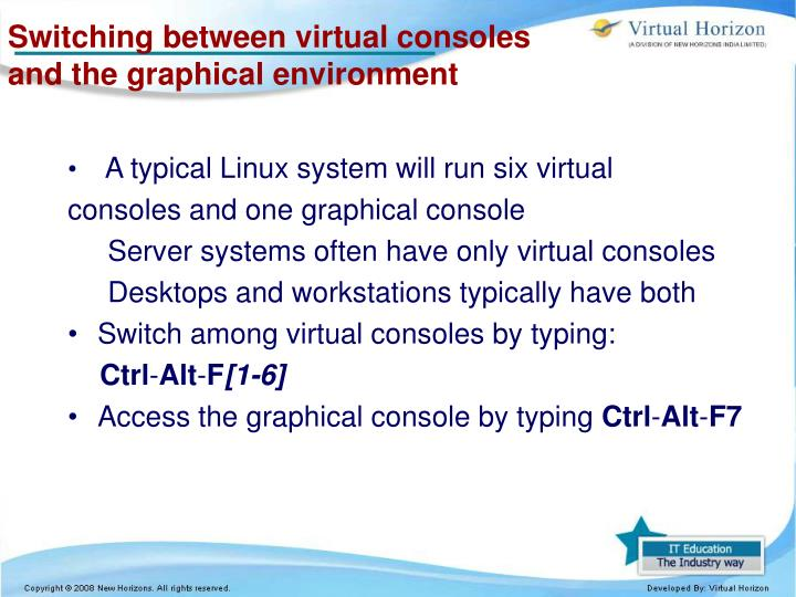 Switching between virtual consoles