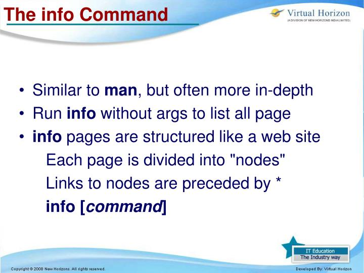 The info Command