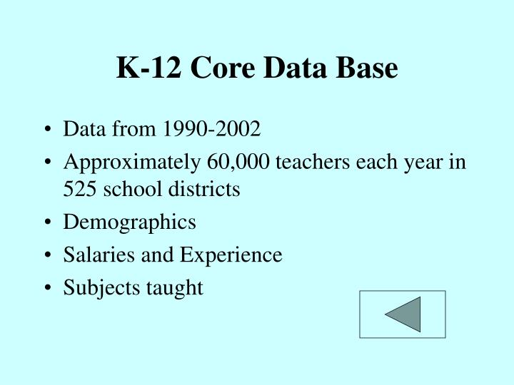 K-12 Core Data Base