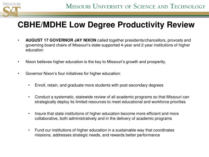 CBHE/MDHE Low Degree Productivity Review