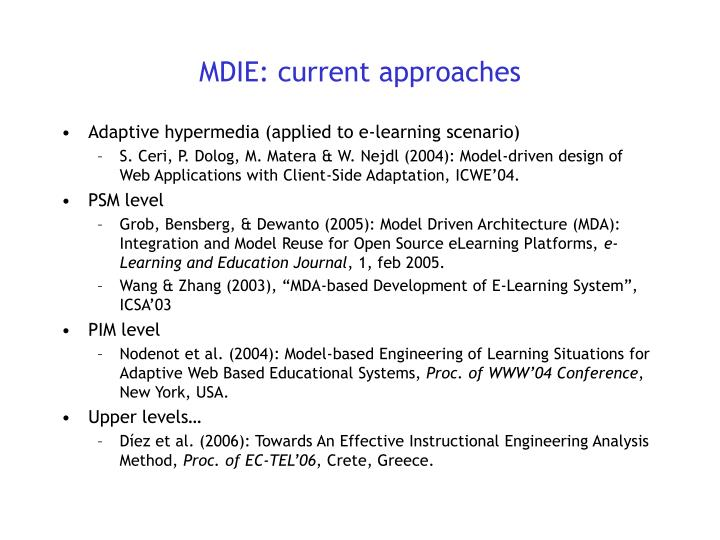 MDIE: current approaches