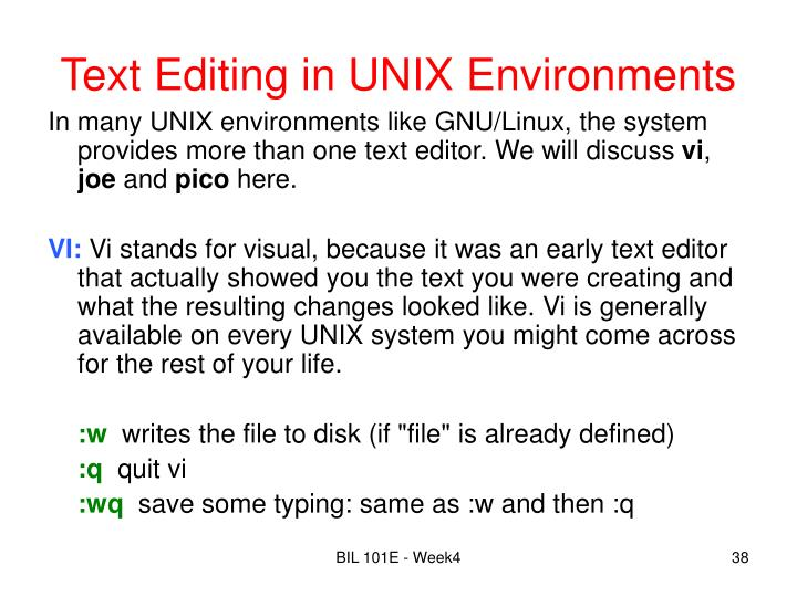 Text Editing in UNIX Environments