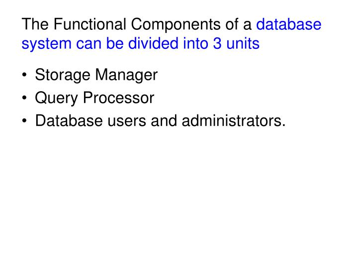 The Functional Components of a
