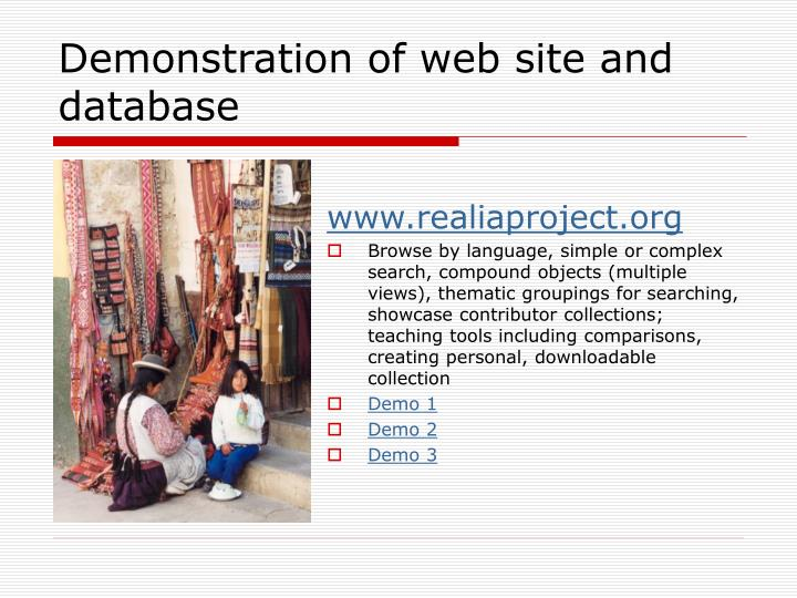 Demonstration of web site and database