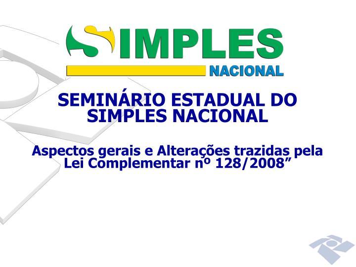 SEMINÁRIO ESTADUAL DO SIMPLES NACIONAL