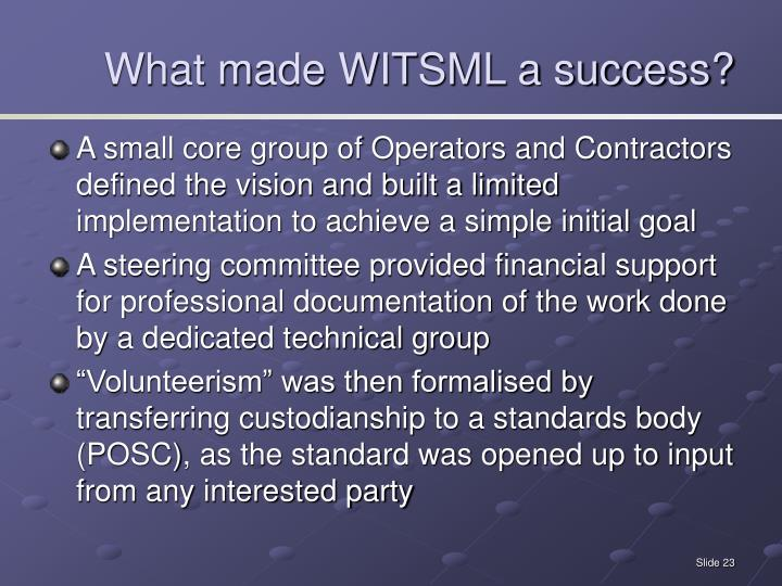 What made WITSML a success?