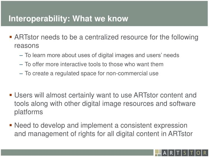 Interoperability: What we know