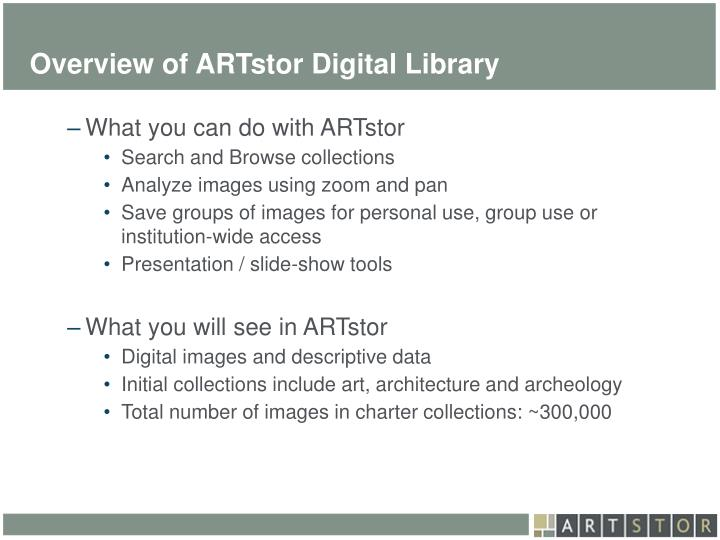 Overview of artstor digital library