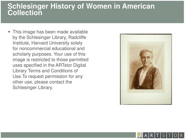 Schlesinger History of Women in American Collection