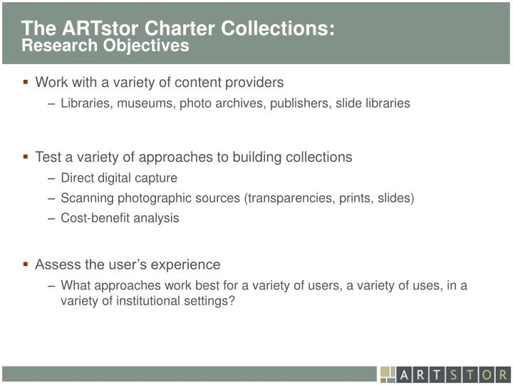 The ARTstor Charter Collections: