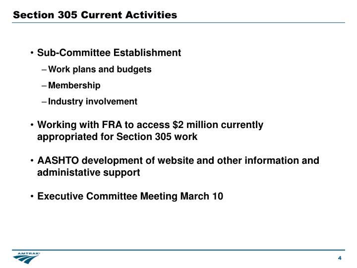 Section 305 Current Activities