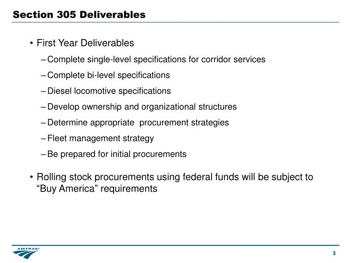 Section 305 Deliverables