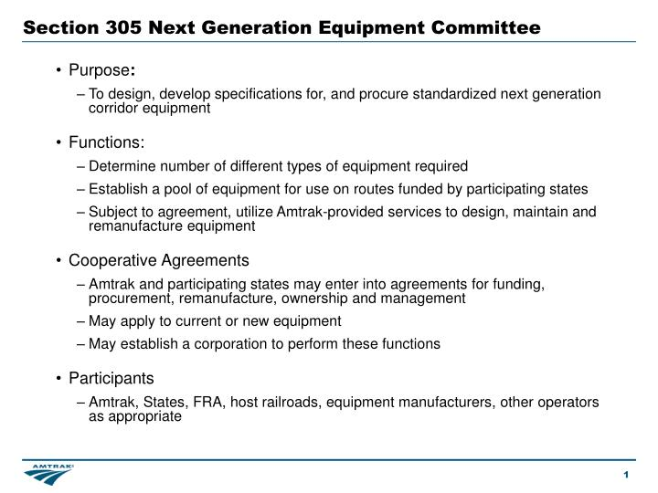 Section 305 Next Generation Equipment Committee