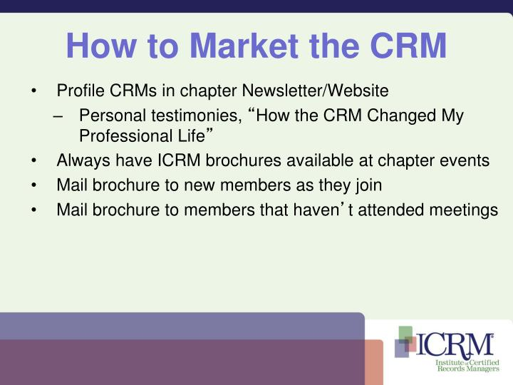 How to market the crm