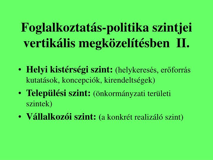Foglalkoztatás-politika szintjei